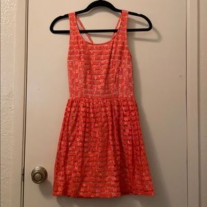 Coral, striped lace flower dress with nude lining